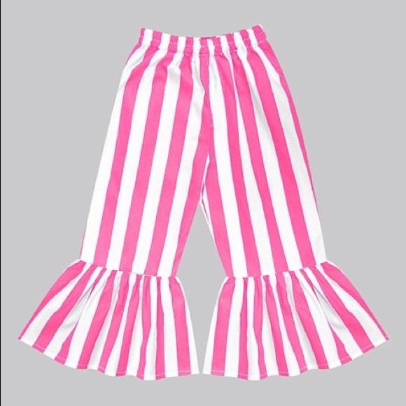 Girls Red & White Stripe Boho Ruffle Pants